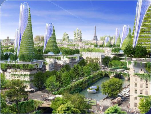 Vista de la ciudad. Imágen cortesía de Vincent Callebaut Architecture