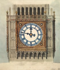 Diseño original del Houses of Parliament  Sir Charles Barry (1838). Imagen RIBA Collections