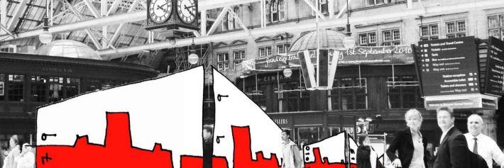 Pop-up exposición conmemorativa de los 37 años de los Premios de Diseño dadas a 100 edificios por el Instituto de Arquitectos de Glasgow.